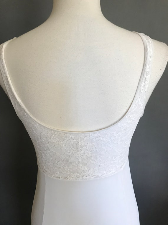 Vintage Full Slip Lingerie Ladies White Nylon Sli… - image 8