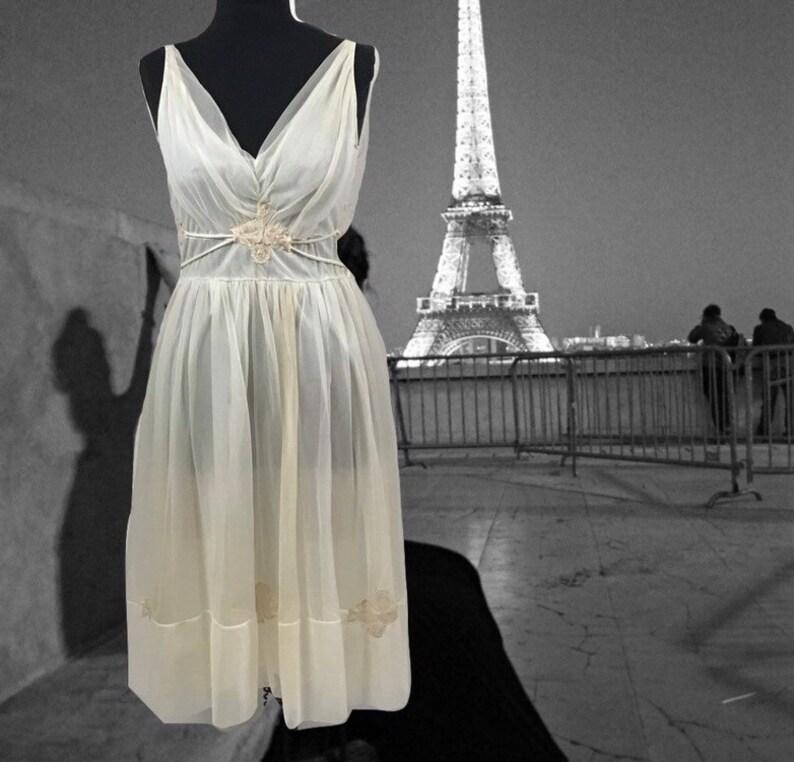 Blue Sheer Nightgown Gown Slip Dress Vanity Fair Sz 34 Vintage Agreeable To Taste Intimates & Sleep Sleepwear & Robes