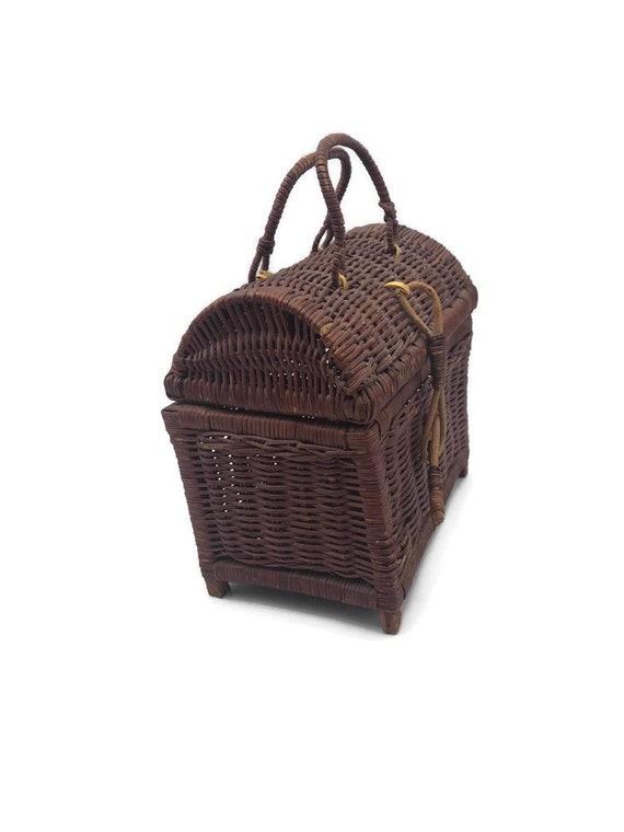 Vintage Rattan Handbag, Top Handle Straw Handbag,… - image 4