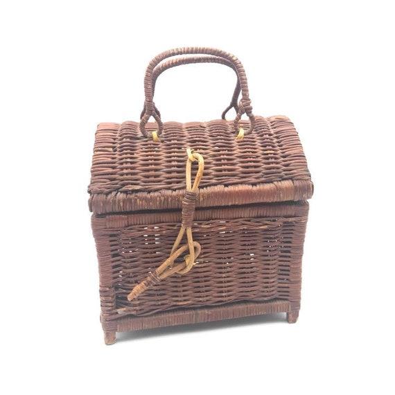 Vintage Rattan Handbag, Top Handle Straw Handbag,… - image 1