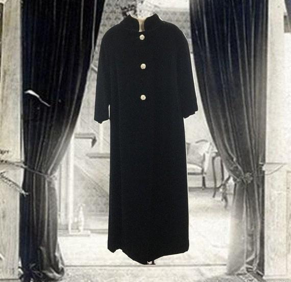 Vintage Black Velvet Opera Coat, Long Evening Coat