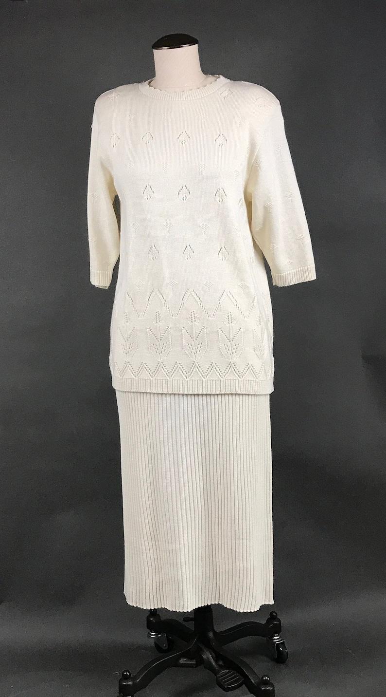 e1df183e379 Vintage Two Piece Sweater Dress Set Ivory Knit Sweater and Rib