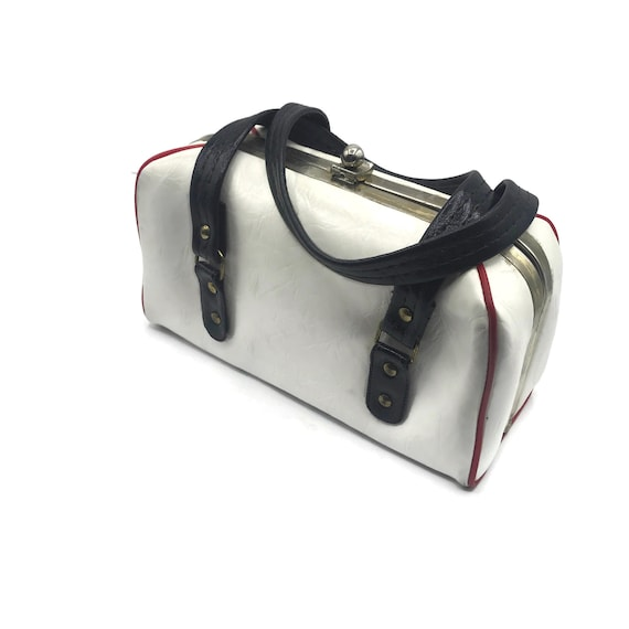 Vintage 1950s Handbag, Boxy Double Top Handle, Re… - image 2