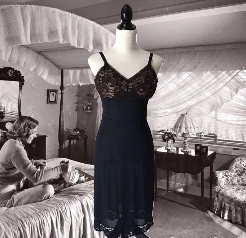 e0affdcea74b Vintage Lingerie Ladies Slip Black Nylon and Brown Lace Slip   Etsy