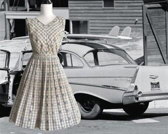 Vintage 50s Cotton Dress, Sleeveless Dress, Full Skirt, 50s Day Dress, 50s Vintage Dress, Womens Clothing, 50s  Dress, 50s Sundress, R & K