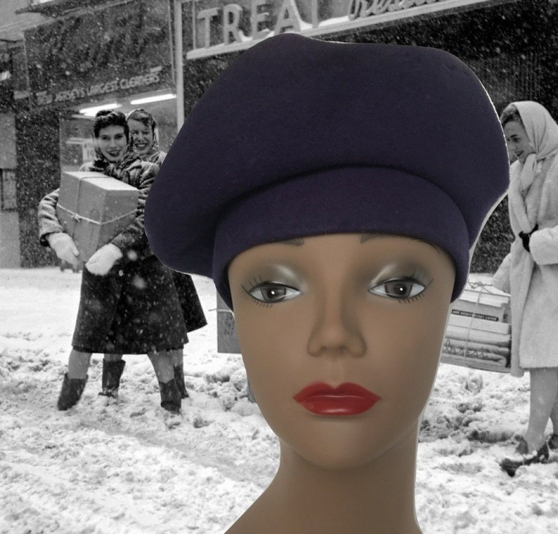 ce5ee204ea5 Vintage Wool Tam Wool Beret 1940s New York Creations Navy Blue