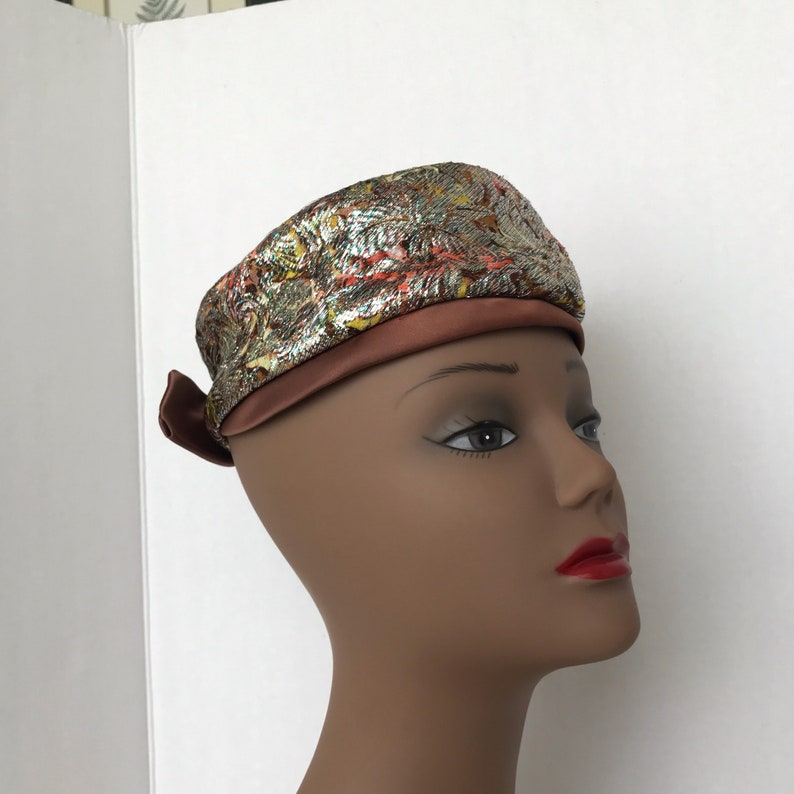 Vintage Metallic Brocade Pillbox Brown Satin Bow 1960s Hat Costume Hat Dressy Hat Formal Hat Union Made Label Brown Green Iridescent