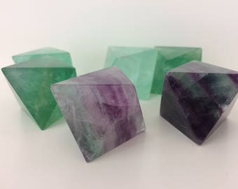 Green & Purple Fluorite Octahedron Crystal | Fluorite Cleavages | Polished Healing Crystals