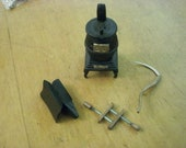 Four Pieces Dollhouse Diorama Tableau Sized Old Fashioned Items Pot Bellied Stove Scythe Anvil Clamp