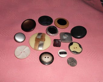 """13 Vintage Buttons Interesting Designs 1/2"""" to 1 and 3/4"""" Metal Wood Plastic Velvet Center More"""