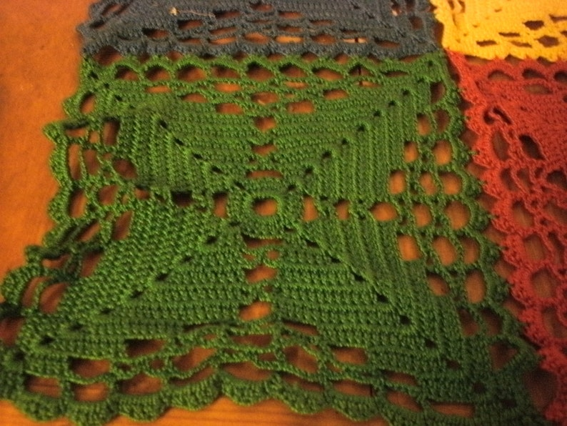 Vintage Hand Crocheted Cotton Table Topper Doily 14 x 14 Red Blue Green Yellow