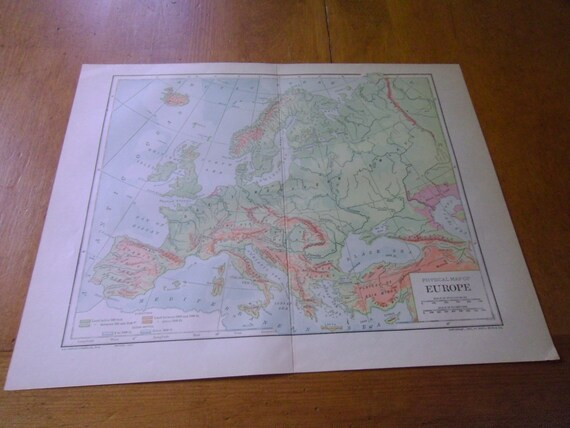 Antique Physical Map of Europe From 1912 Encyclopedia Published by Dodd  Mead & Co. 12.5\