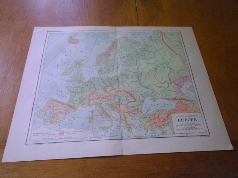 Antique Physical Map of Europe From 1912 Encyclopedia Published by on outline map of il, topographic map of il, blank map of il, color map of il,