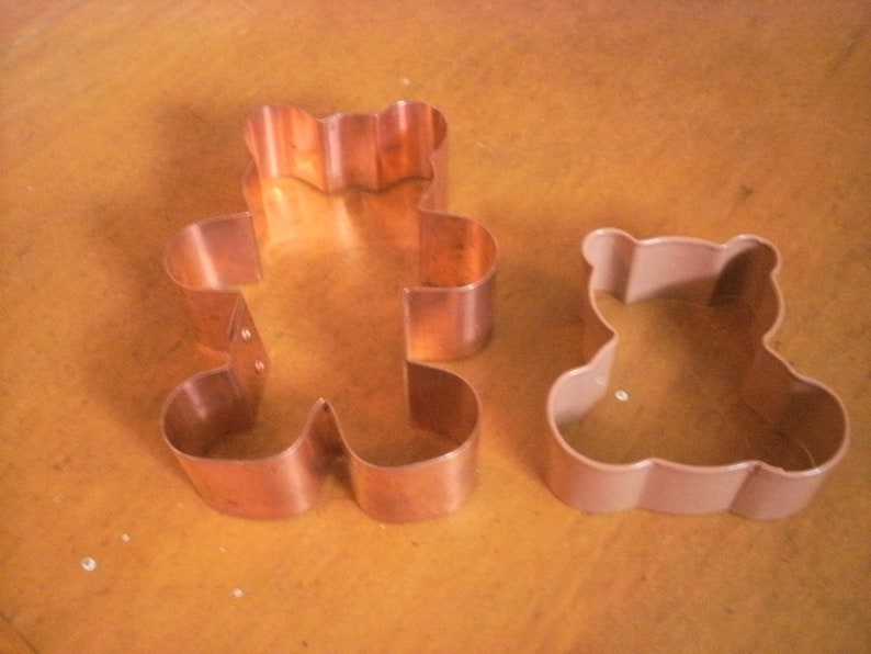 Copper and Metal Teddy Bear Cookie Cutters 4.5 and 2.75