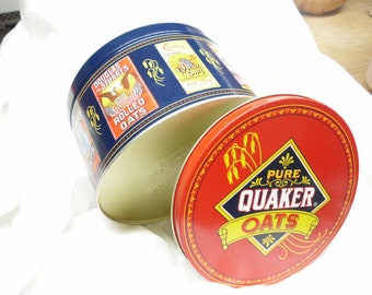 """Vintage 1983 Quaker Oats Tin Round Metal Canister Limited Edition 7"""" Diameter 4.25"""" Height Nice Condition"""