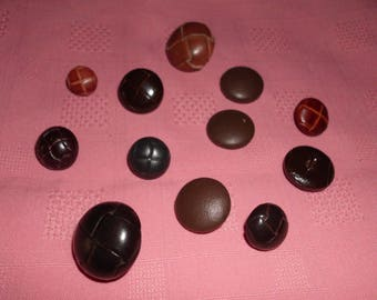 12 Vintage Buttons Leather Covered and Faux Leather Look 15 mm to 25 mm