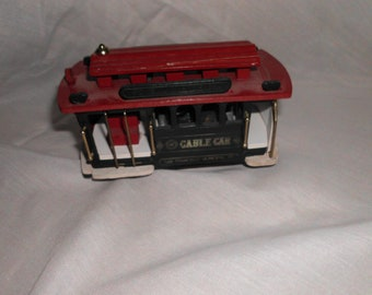 "Vintage Wooden Music Box Cable Car San Francisco I Left My Heart In San Francisco Detailed Great Working Condition 5"" x 3"" x 2.5"""