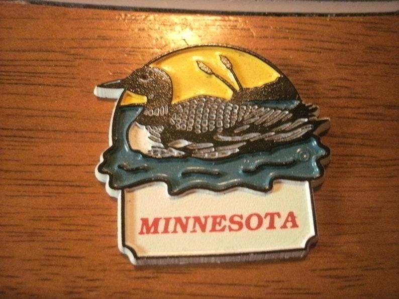 Sturdy Hard Rubber Souvenir Magnet Vintage Loon Minnesota 2.25 x 2
