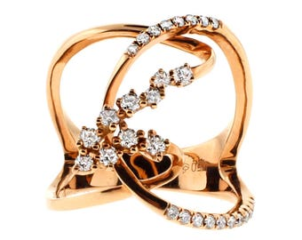 11576 Wide Twists And Turns Ladies Diamond Fashion Ring In 18Kt Rose Gold