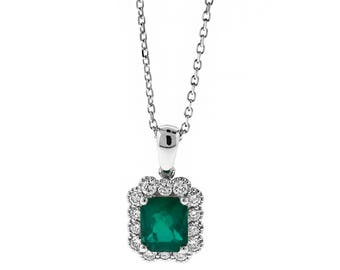 12033 Rectangular Emerald Pendant Surrounded By Diamonds in 18k White Gold