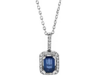 12031 Rectangular Sapphire Pendant Surrounded by Diamonds in 18k White Gold