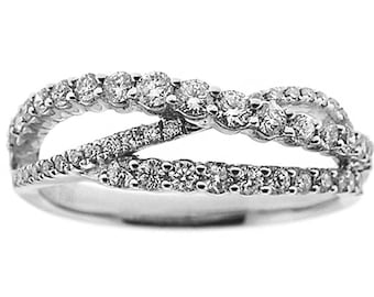 8145 Diamond Ring Crossover Style Ladies Fashion Ring in with Prong Set Diamond Rounds in 18K White Gold