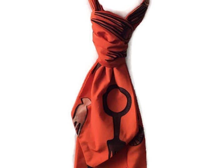 Orange Satin Afrocomb Fabric African Print Wedding Ascot Cravat