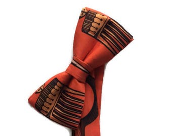 Orange Satin African Afro Comb Fabric Bow tie And Pocket Square