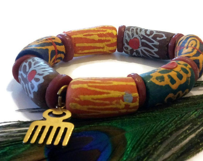 Plus Size Extra Long Multi Coloured African Stretch Bead Bracelet, Ghana Krobo Beads Jewellery, Mens African Clothing