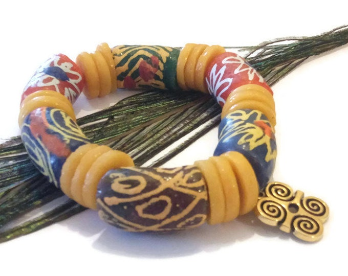 Mens Plus Size Extra Long Multi Coloured African Stretch Bead Bracelet With Adinkra Pendant