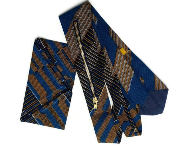 Mens Blue Kente Exposed Zipper Necktie With Concealed Pocket, Matching Pocket Square And Storage Pouch
