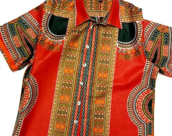 African Clothing For Men, Red Dashiki Plus Size Shirt XXL, African Gift For Him