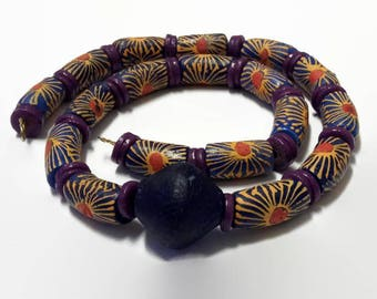 Free Delivery UK And USA| Purple Sunflower Hand painted Beads| Multicolored African Bead Bracelet And Necklace| Mens Traditional Jewellery