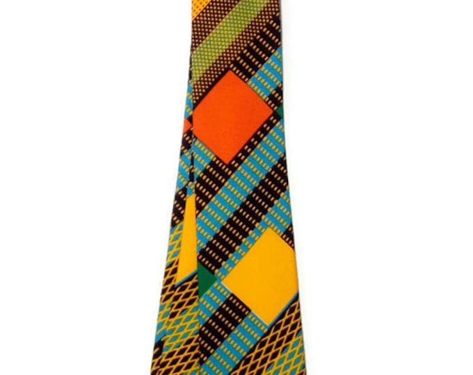 Unique Gift For Him Handmade Kente Necktie And Pocket Square, Mens African Necktie And Hanky