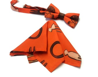 Satin Silk Orange African Print Bow tie And Pocket Square| Afro Comb Adinkra Symbols Graduation Bow tie| Leaving Party Gift| African Wedding