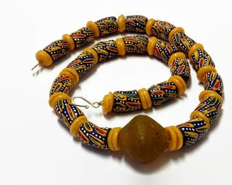 Mustard Yellow Multicolored African Bead Bracelet And Necklace| Traditional Mens African Dress Jewellery| Unisex Engagement Wedding Gift