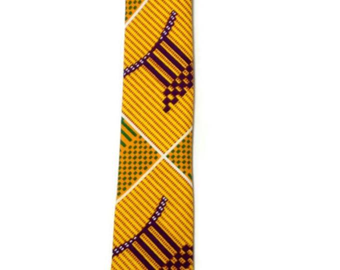 Handmade Kente Adinkra Necktie And Pocket Square, Ghana Ashanti Stool Mens African Necktie And Hanky