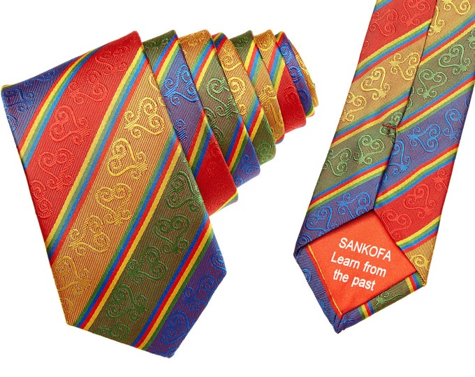 Gifts For Men, Red Silk Adinkra Necktie, Silk Kente Hand Woven African NeckTie
