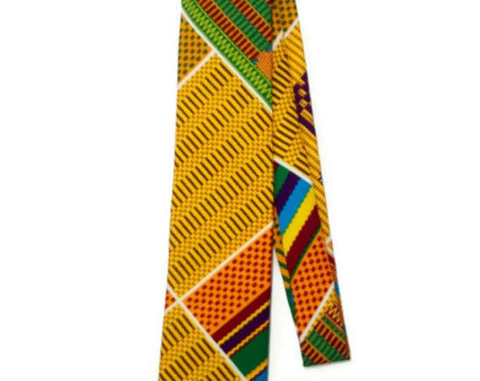African Christmas Gift For Him Handmade Kente Adinkra Necktie And Pocket Square, Ashanti Stool Mens African Necktie And Hanky