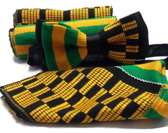African Traditional Wedding Dinner Pre-tied Double Woven Kente Satin Silk Bowtie Set| Tuxedo Scarf| Kente Stole| Engagement Party Groom Gift