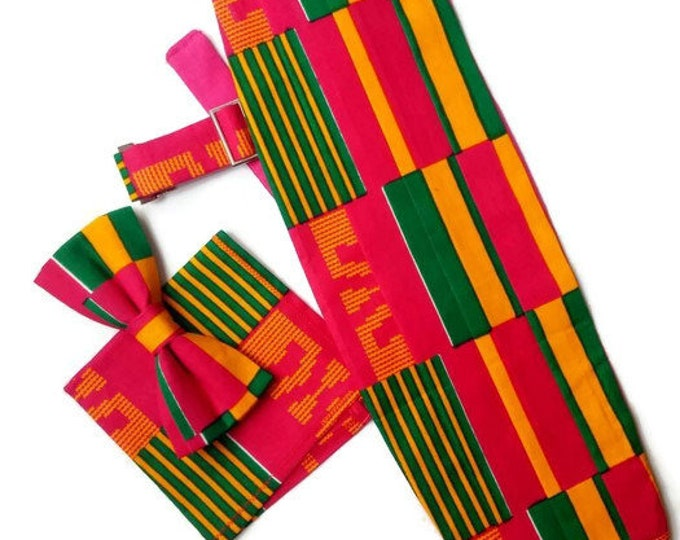 Rose Pink Kente Three Pleats Cummerbund Bowtie And Pocket Square Set