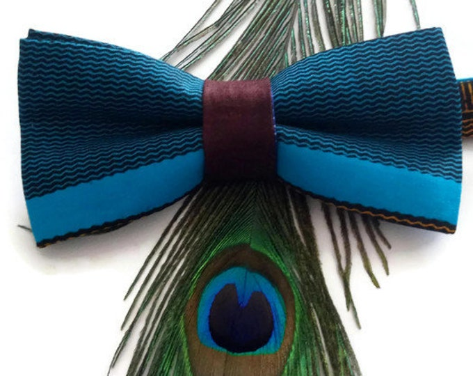 Mens Blue Kente African Print Pre-tied Bow tie And Pocket Square, Afroneckties Mens African Clothing,  African Bow tie And Handkerchief