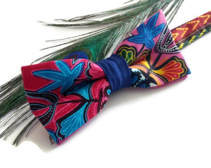 Mens Blue Pink Dashiki African Pre-tied Bow tie, Afroneckties Mens African Clothing,  African Bow tie Gift