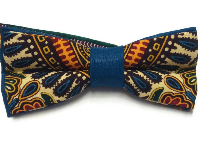 Beige African Print Bowtie| Dashiki Anniversary Bow Tie| Teens First Bowtie| Gift For Best Friend| New Job Gift| Leaving Gift| Party Bowtie