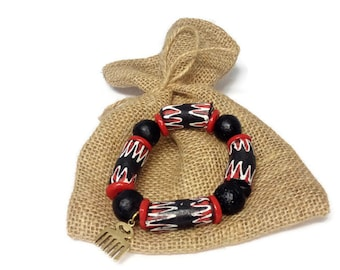 Plus Size Extra Long White And Red Chevron African Stretch Bead Bracelet, Ghana Krobo Beads Jewellery, Mens African Clothing