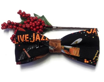 Ready To Wear Pre-Tied Jazz Fabric Bowtie And Hanky| Jazz Saxophone Music Instruments Bowtie And Pocket Square| Gift For Jazz Music Fan