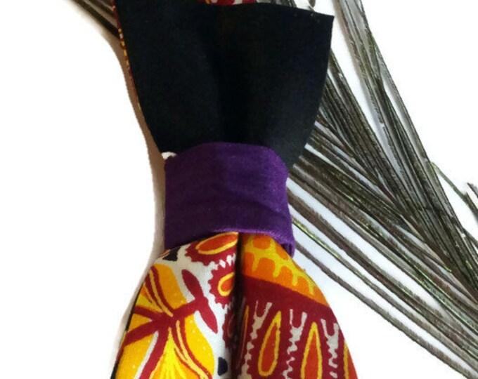Mens Orange Dashiki African Pre-tied Bow tie, Afroneckties Mens African Clothing,  African Bow tie Gift
