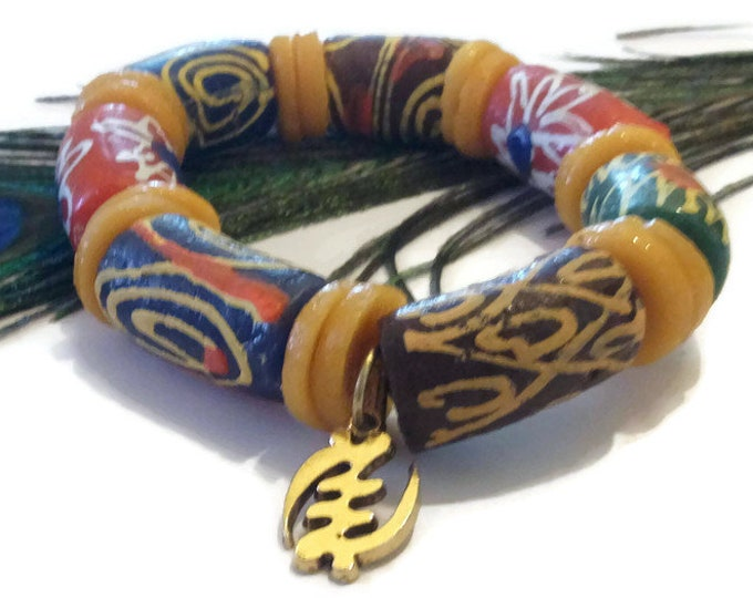 Plus Size Extra Long Multi Coloured Chunky African Stretch Bead Bracelet With Gye Nyame Pendant