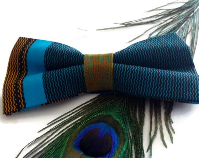Blue Kente African Print Pre-tied Bow tie And Pocket Square, Afroneckties Mens African Clothing,  African Bow tie And Handkerchief