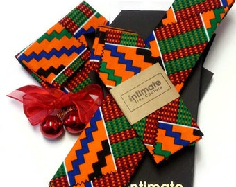 Kente Necktie Pocket Square And Pouch| Valentine Gift For Him| Wedding Gift For Dad| Wedding Best man Necktie Gift| Prom Gift For Son Nephew